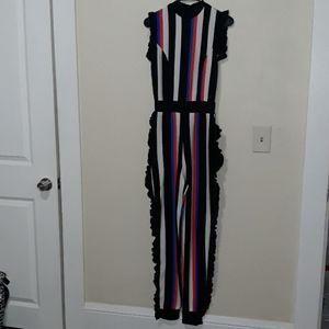 Super cute striped ruffle jumpsuit